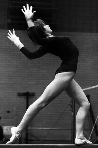 Nadia Comaneci during her practice session.