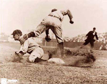 Charles Conlon's famous picture of Cobb stealing third during the 1909 season..